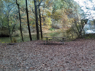 Typical campsite at Silver Creek Park, Alabama, with picnic bench and fire ring, right by the lake. Big shady trees, too.