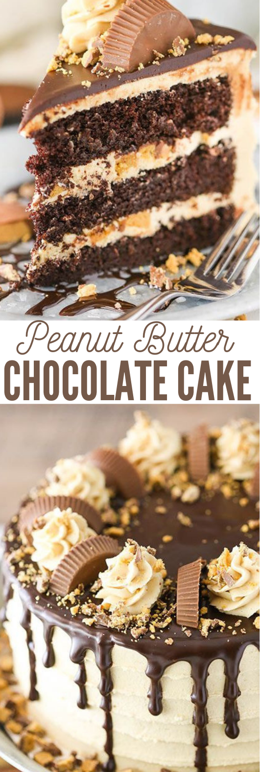 PEANUT BUTTER CHOCOLATE LAYER CAKE #cake #butter