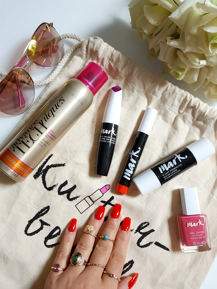 AVON - Summer Beauty Festival Essentials - Trocken Shampoo - mark Lip Tint, Gel Shine Nagellack, Hi Light Strobing Duo, Ring Set, Big & False Lash Volumen Mascara
