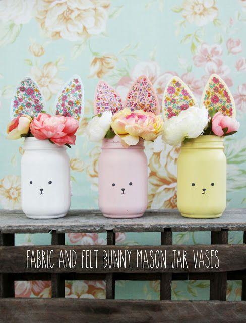 Colorful Easter bunny mason jar diy.