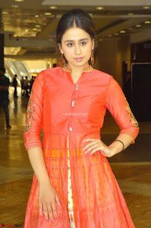 Smrath Juneja Telugu Actress and Model in orange Ethnic Anarkali Dress at Hi Life Exhibition curtain raiser 23rd March 2017