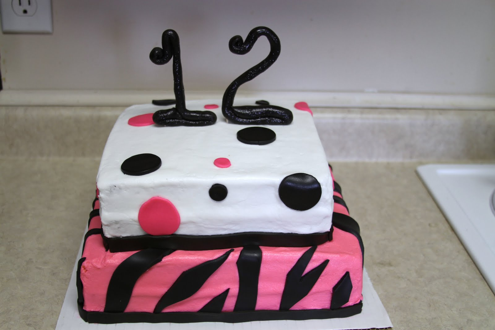 Michele Robinson Cakes Zebra Poka Dot 12th Birthday Cake