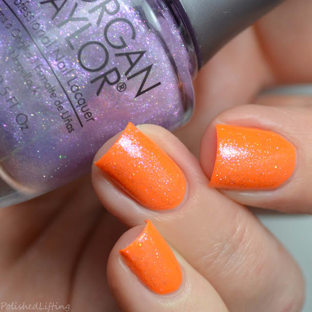 shimmer top coat over neon orange polish