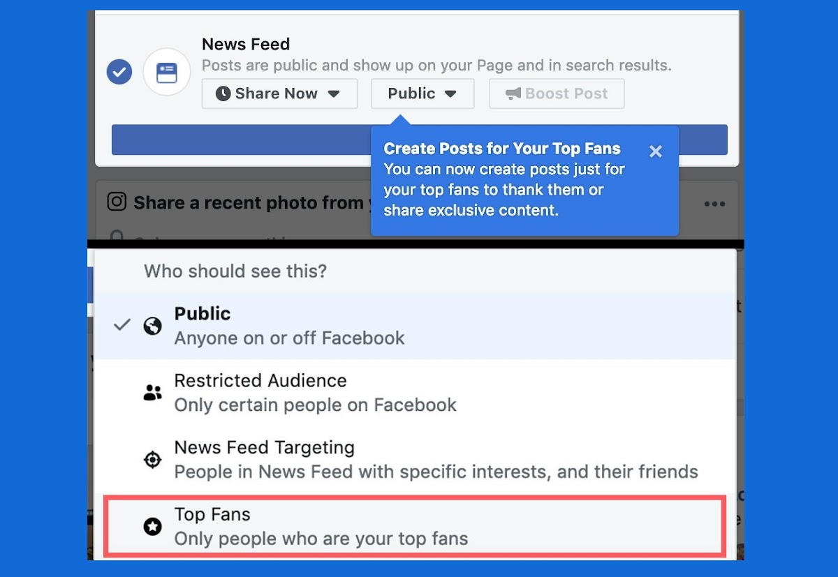 Facebook page admins can now create posts just for their top fans to thank them or share exclusive content.
