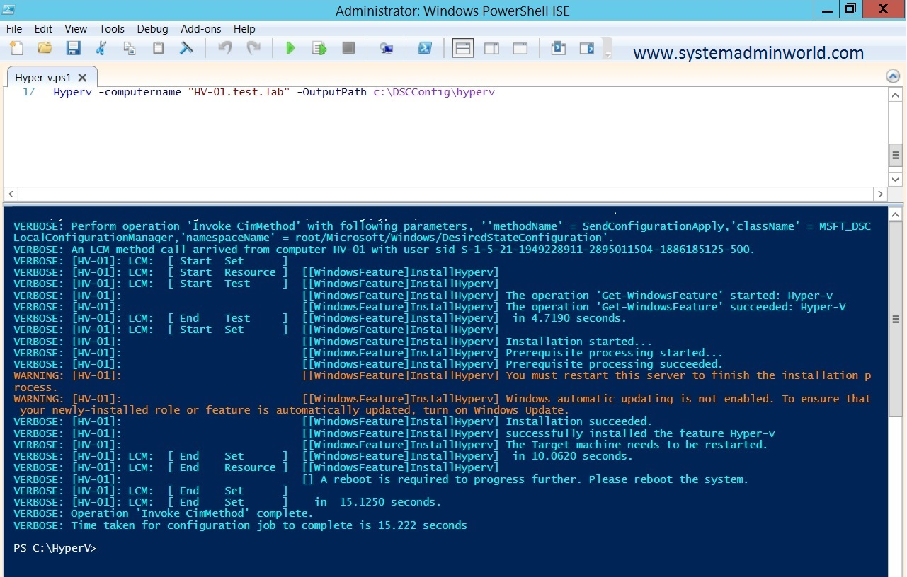 How To use PowerShell DSC To Install and configure Hyper-V