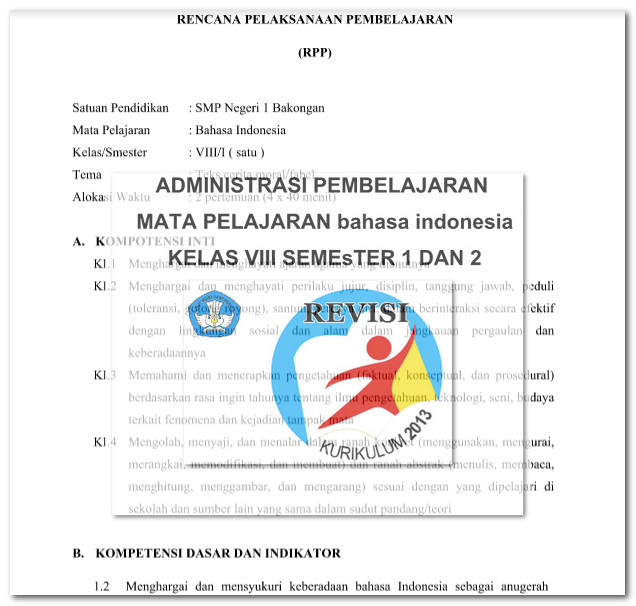RPP K13 Bahasa Indonesia SMP