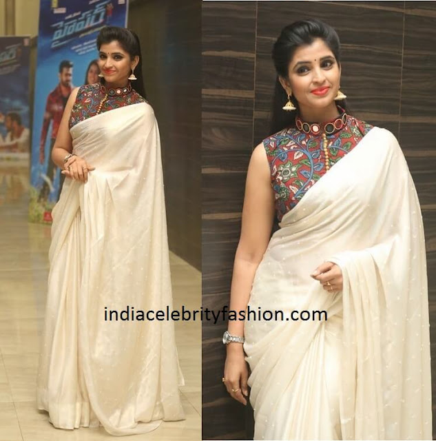 Anchor Shyamala in Plain Saree with Kalamkari Blouse