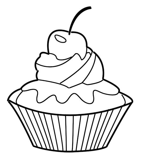 dessins et coloriages page de coloriage grand format imprimer un petit cupcake avec une