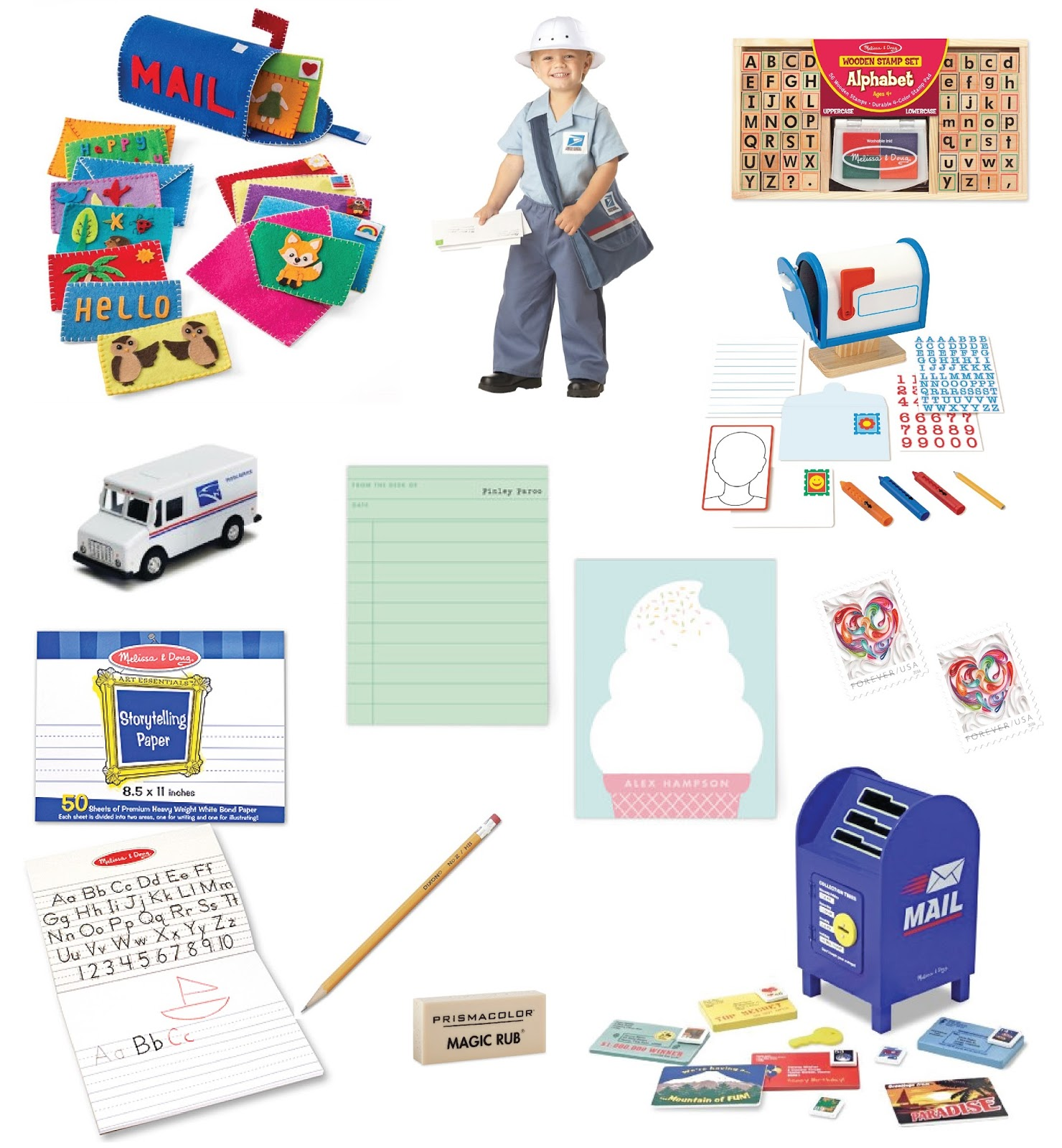 Felt Mailbox Play Set Postman Costume Melissa And Doug Alphabet Stamp Toy Mail Truck Minted Personalized Stationery My Own