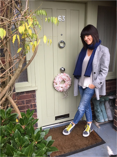 My Midlife Fashion, Boden Hi Tops, Distressed Zara Boyfriend Jeans, Zara handmade wool coat
