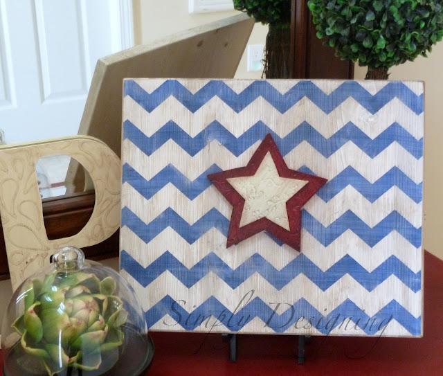 chevron01 Star & Chevron Stripe Patriotic Sign {4th of July decor} 21