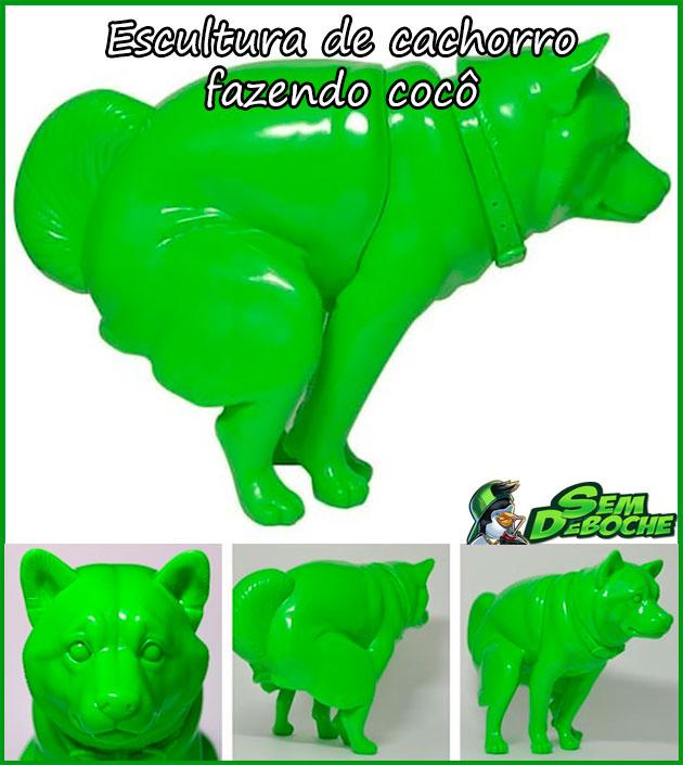 ESCULTURA DE CACHORRO FAZENDO COCÔ