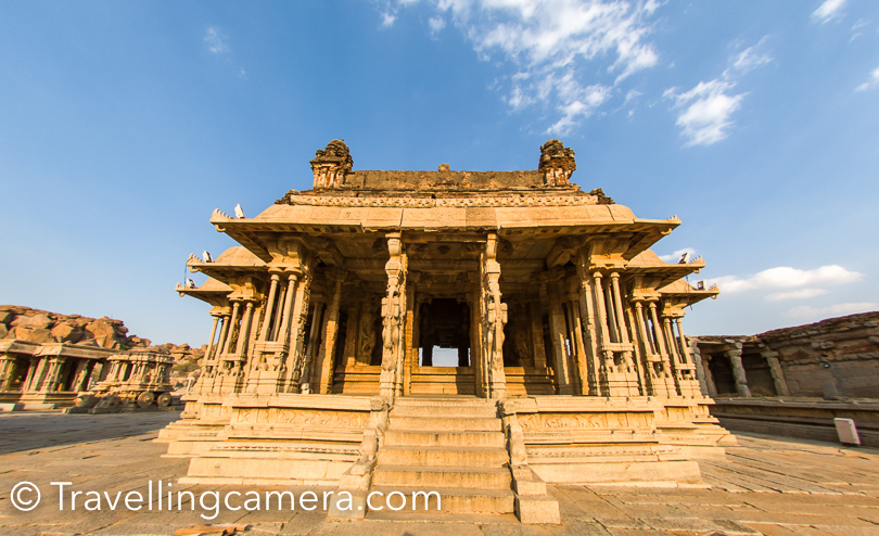 The Vittala Temple in Hampi is one of the ancient monuments that is well-known for its exceptional architecture and unmatched craftsmanship. It is considered to be one of the largest and the most famous structure in Hampi. The temple is located near the banks of the Tungabhadra River. Our guide took us inside some of the temples in this compound and made us hear music which comes out of the pillars. One needs to experience it live. Even videos can't help you with these kinds of experiences.