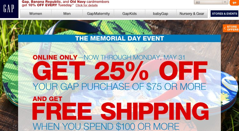 Gap Memorial Day Sale Coupon