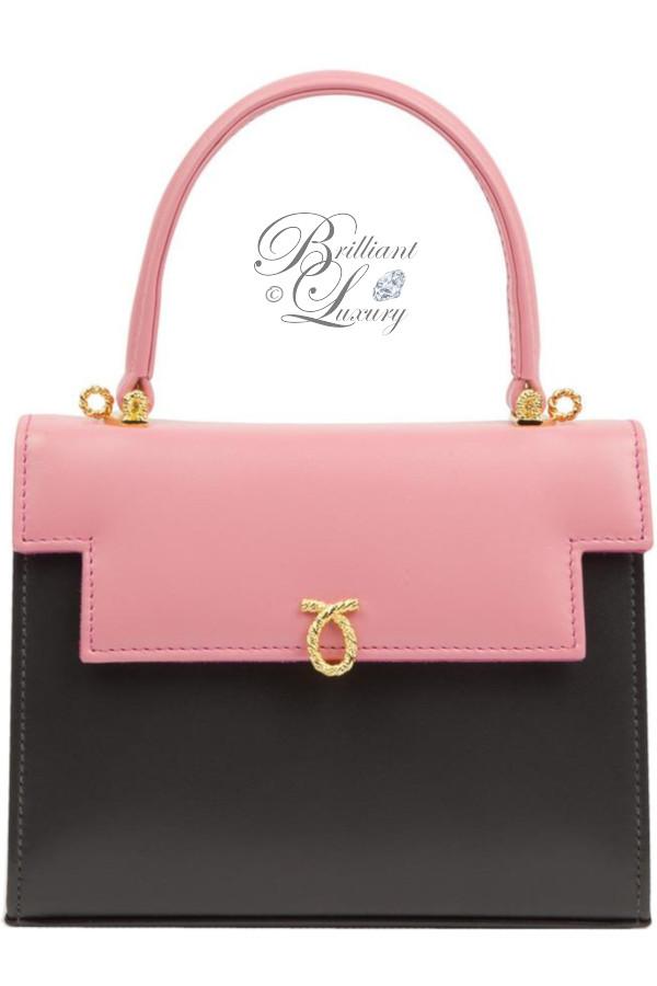 Brilliant Luxury ♦ Launer Viola ash-grey and icing pink handbag