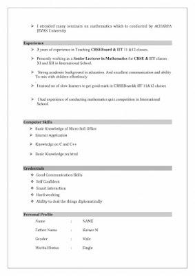 Resume Format for Teachers 2