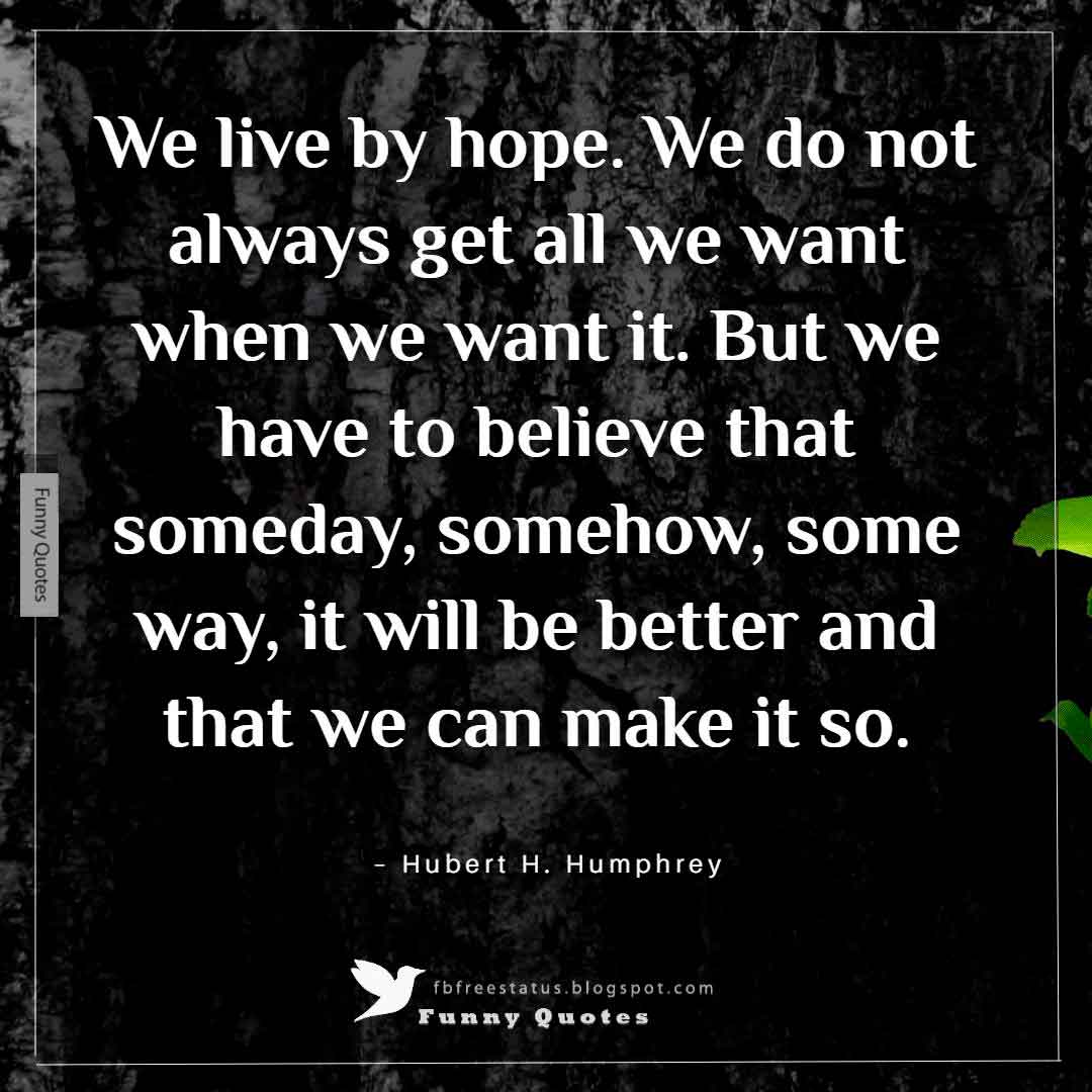 """We live by hope. We do not always get all we want when we want it. But we have to believe that someday, somehow, some way, it will be better and that we can make it so."" ~Hubert H. Humphrey"