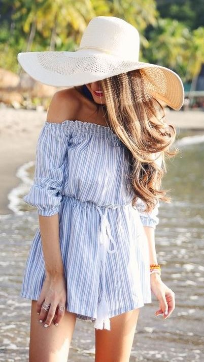 beautiful summer outfit / stripped off shoulder romper and hat