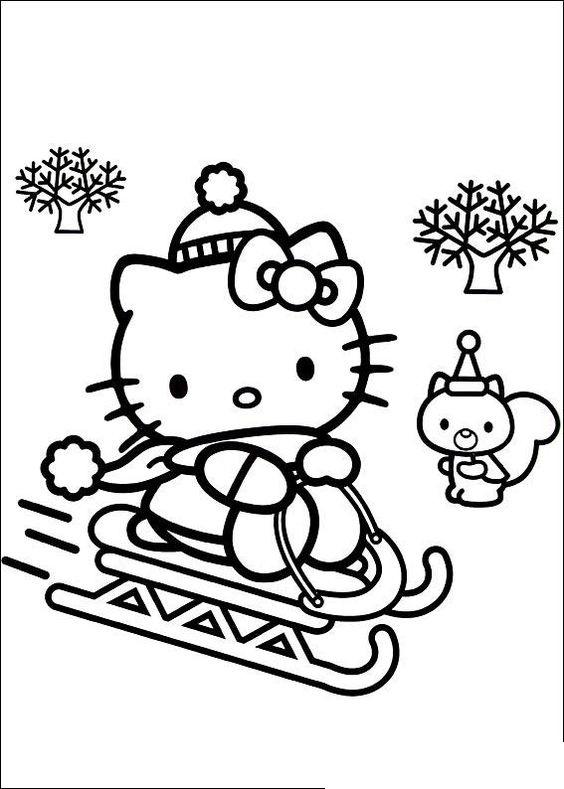 Tranh tô màu mèo hello kitty trượt tuyết