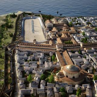 Αναπαράσταστη της Θεσσαλονίκης των πρωτοβυζαντινών χρόνων. Ο Ιππόδρομος βρισκόταν δίπλα στα ανατολικά τείχη της πόλης (σημερινή Πλατεία Ιπποδρoμίου).