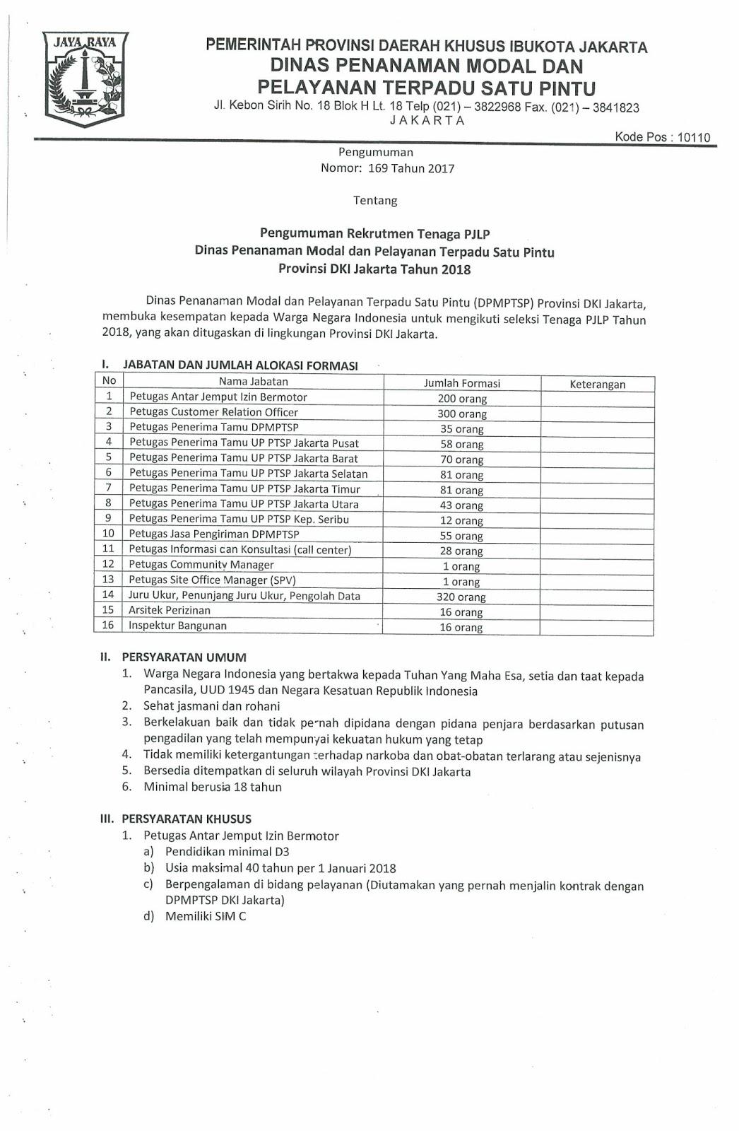 Lowongan Kerja  Rekrutmen Non PNS Dinas Penanaman Modal dan PTSP Besar Besaran [1,317 Formasi]  Agustus 2018