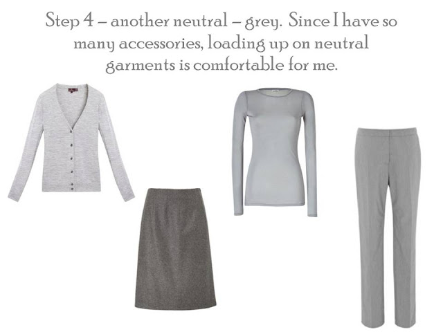 Step 4 of Project 333: A Core of Four in gray, cardigan, skirt, tee and trousers