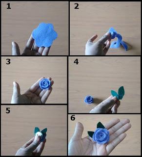 Tutorial Cara Membuat Bross Mawar Cantik dari Bahan Kain Flanel