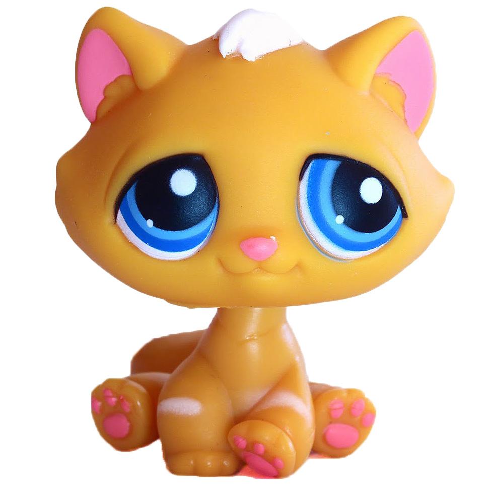 Details about  /Littlest Pet Shop~#349~Super Sassy Orange Cat~Pink Sucker~Blue Stackable Nook