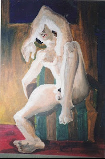 Desnudo masculino al oleo sobre carton autor Jorge Marín