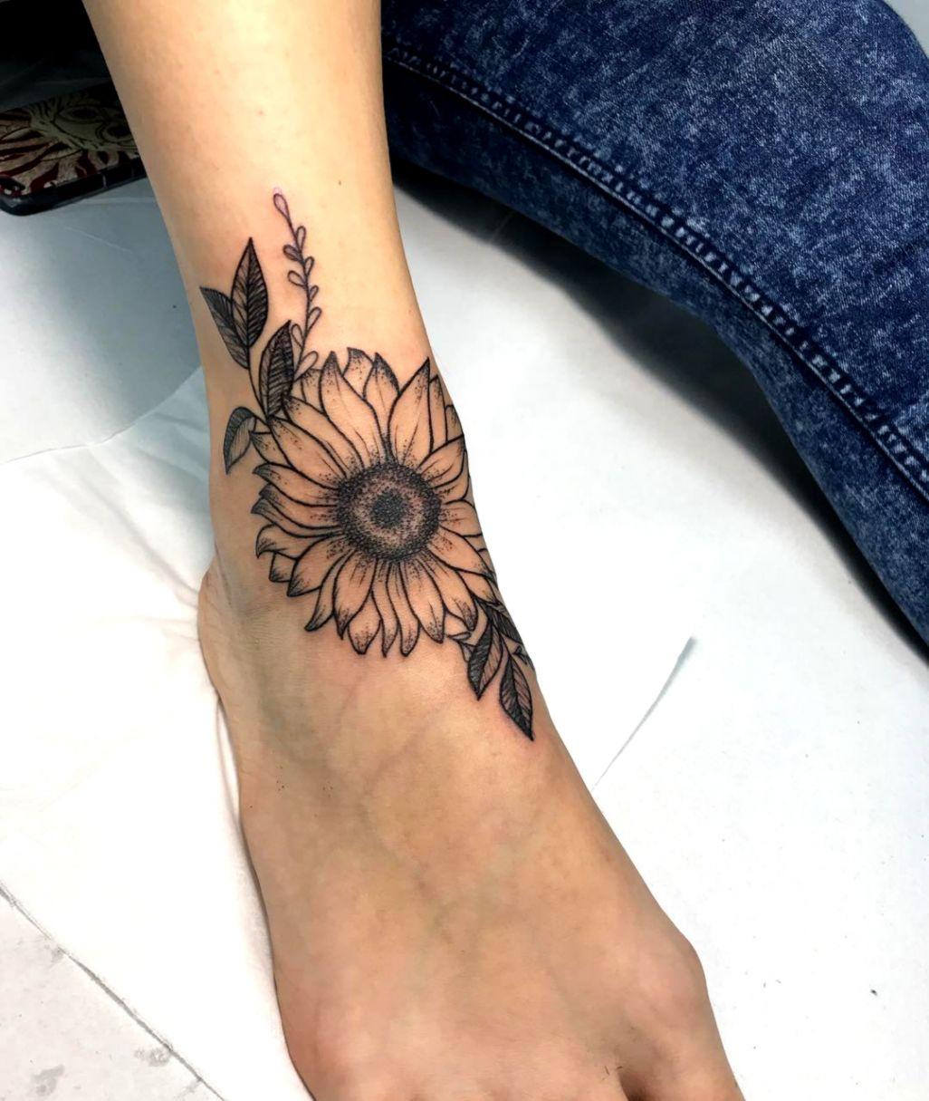 e1ac76df1 Dashing Sunflower Tattoo On Foot Blurmark