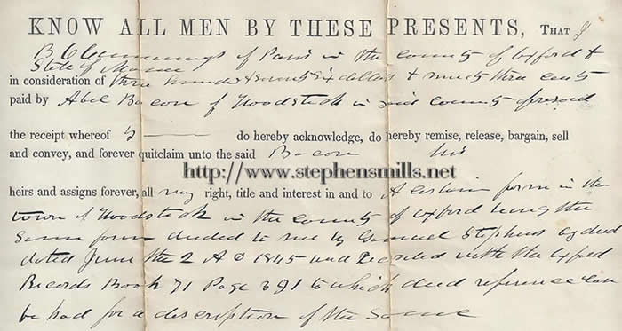 The deed of Captain Samuel Stephens he sells the homestead to Abel Bacon