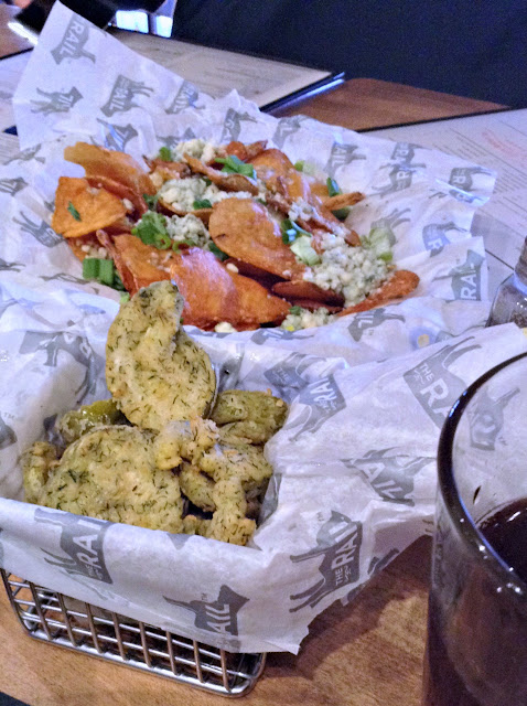 Blue truffle chips and housemade fried pickles @TheRailBurger