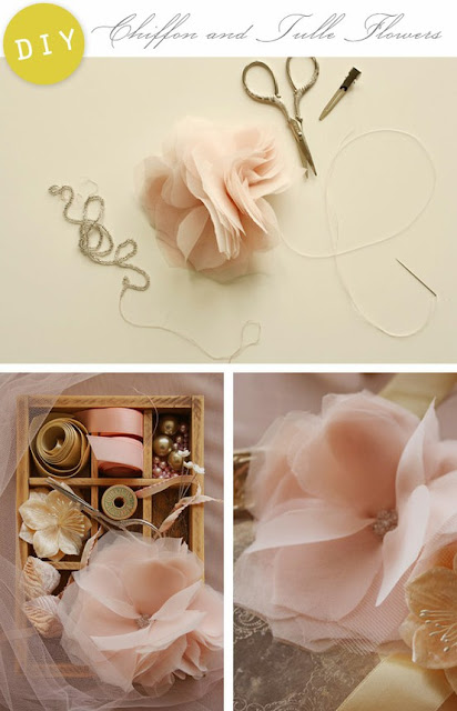 Chiffon tulle flower DIY from creaturecomforts blog - Flower Tutorials Directory - Click through to view 30 Fabulous Flower Tutorials!