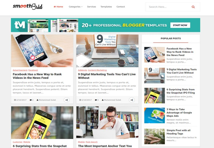 Smooth Grid Blogger Template Free Blogger Templates - Email grid template