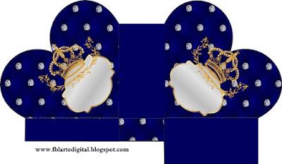 Caja abierta en forma de corazón de Corona Dorada en Azul y Brillantes.
