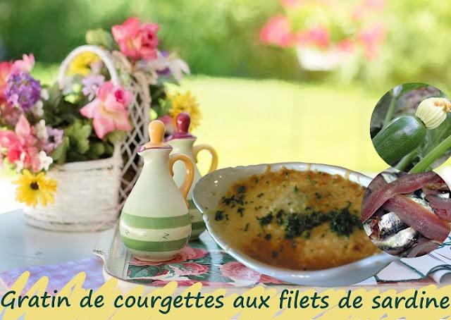 Gratin de courgettes et de filets de sardine, sans gluten à la provençale