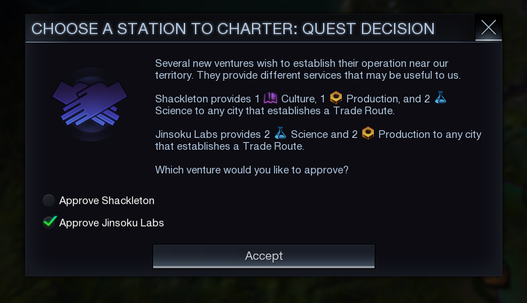 A Quest dedicated to choosing between two stations. One will appear near the player; the other will not.