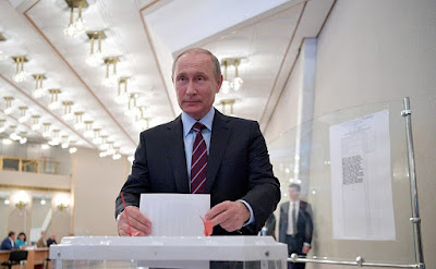 Vladimir Putin cast his vote during municipal elections in Moscow.