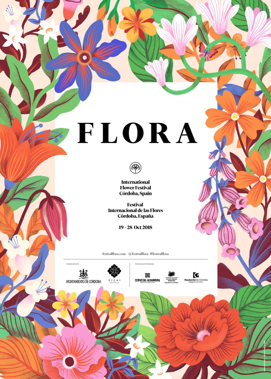cartel ilustrativo con flores