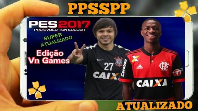 NOVO!! PES 2017 BRASILEIRÃO e EUROPEU ATUALIZADO NARRAÇÃO DE LUIZ ROBERTO PARA PPSSPP ANDROID
