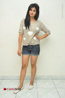 Actress Model Shamili (Varshini Sounderajan) Stills in Denim Shorts at Swachh Hyderabad Cricket Press Meet  0041.JPG