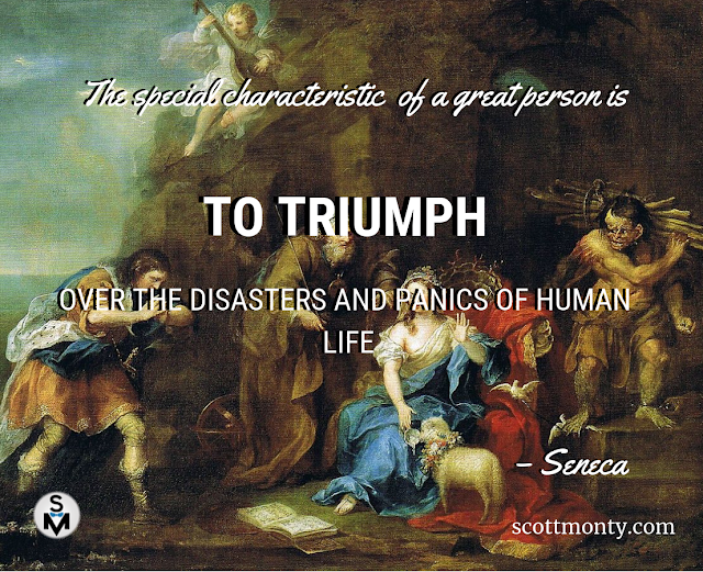 The special characteristic of a great person is to triumph over the disasters and panics of human life. - Seneca