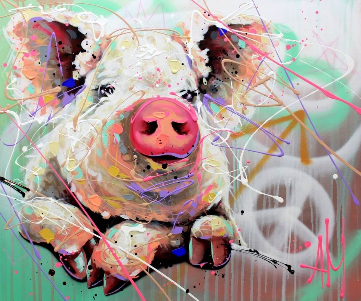 06-Little-Pig-Andrea-Marqui-Bright-Paintings-of-Animal-Portraits-www-designstack-co
