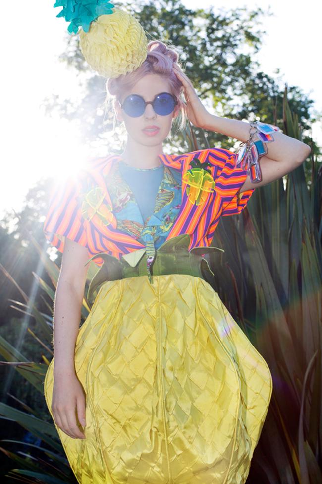 Ciara Monhan, pineapple headpiece, tropical fashion