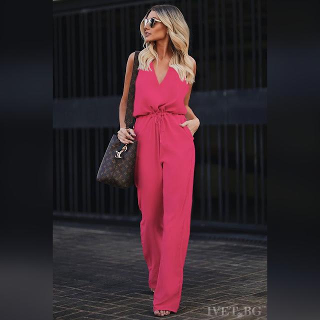 Αμάνικη φούξια ολόσωμη φόρμα MELANIA FUCHSIA