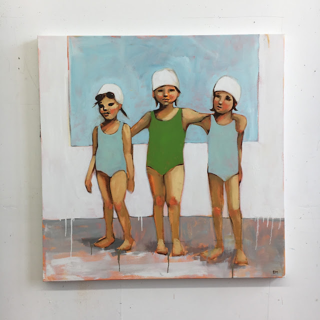 oil painting of girl swimmers, girl power
