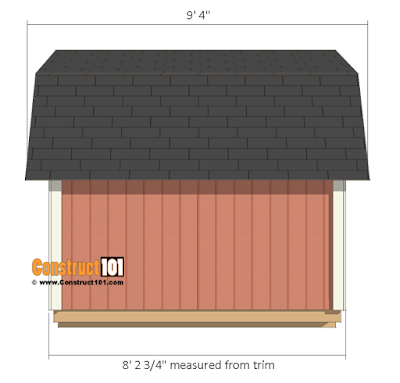Side view of 8x8 barn shed plans.