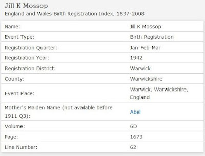 Birth Registration Index entry for Jill K. Mossop (from FamilySearch.org website)