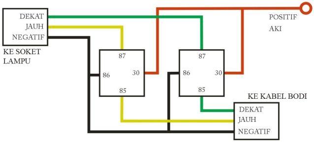 cara membuat lampu motor terang dengan relay