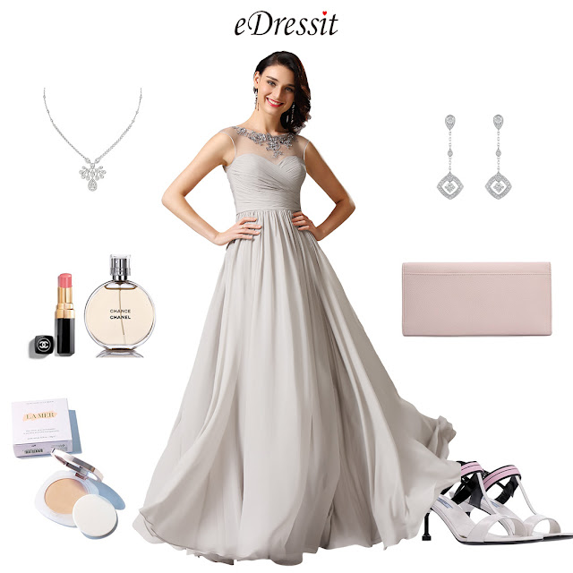 Illusion Applique Sweetheart Grey Evening Dress Formal Dress